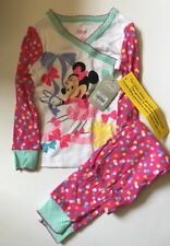 Nwt Toddler Girls Disney Minnie Mouse Pink Footed Pajamas Size:2