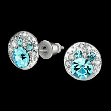 Classic 18k White Gold Filled Blue Stud Earrings Made With Swarovski Crystals