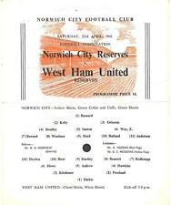 NORWICH CITY RESERVES v WEST HAM UNITED 65-6 Football Combination Programme