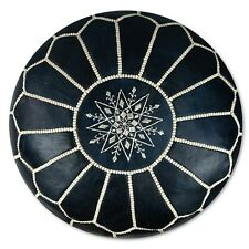 Moroccan Leather Pouf Blue Denim - Delivered Stuffed, Ottoman, Footstool