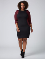 Lane Bryant Colorblock Sheath Dress Womens Plus 16 26 Wine/Black 1x 4x