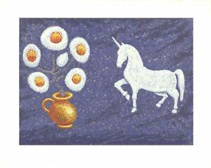DOUGLAS MAZONOWICZ Unicorn SIGNED 23.25 x 29.25 Serigraph 1983 Modernism Black &