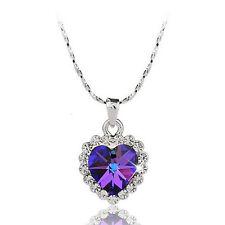 18K White GOLD Plated WOMENS Purple SWAROVSKI CRYSTA OCEAN HEART Necklace  L051