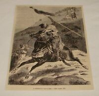 1876 magazine engraving ~ MOROCCO CAVALIER