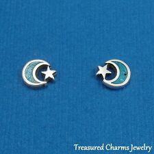 .925 Sterling Silver and Turquoise MOON AND STAR Celestial Post Stud EARRINGS