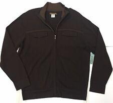 CUBAVERA Men's 100% Cotton Chocolate Full-zip Sweater, Size: Medium.