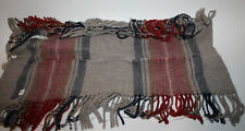 """PENDLETON Wool Plaid Fabric Remnant Fringe Taupe Navy Blue Red 9.5"""" x 52"""""""