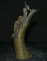 "6.8 ""Bronze Chinois 24K Or Doré Feng Shui Zodiaque Animal Dragon Tête Statue"