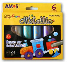 NEW AMOS Silky Crayons Pastel Metallic 6 Colours Pack - Bright on black paper