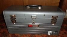 Sears vintage tool box steel metal with red tray used some rust gray Craftsman