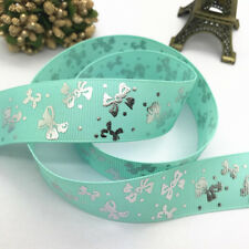 NEW 10yards 25mm print color patterns Grosgrain Bow Ribbon Sewing decoration#157