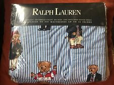 Ralph Lauren Polo Teddy Bears Twin Deep Fitted Sheet Blue Stripe Nip! Free Ship