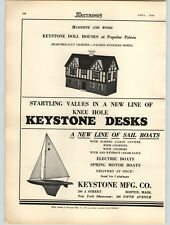 1936 PAPER AD Keystone Masonite Wood Doll House Spring Motor & Electric Boats