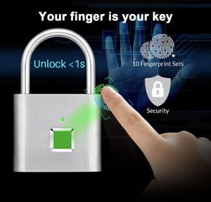 Waterproof Fingerprint Smart Lock Keyless Padlock for Door Box Bag USB Charging