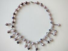 NEW Women's Necklace Choker Multi Faceted Glass Beads Purple Lavender Sparkling