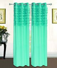 NEW Empire Solid Ruffled Pleated Window Curtain Panel With Grommets - All Sizes