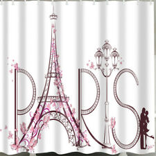 1 Pc Waterproof Paris-Tower-and-Lovers Shower Curtain for Home & Bathroom