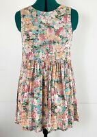 Billabong Ladies Sleeveless Drop Waisted Floral Summer Dress Open Back Size 10