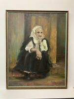 Vintage Original Oil Painting Signed Musgrave Old Woman Sitting Thinking Grandma