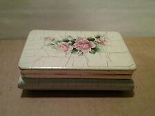 Vintage Wood Crackle Roses Ivory Pink Shabby Primitive Cottage Trinket Box