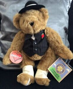 Vermont Teddy Bear Co GANGSTER OF LOVE RARE ❤️ 🐻 Jointed Tags Attached