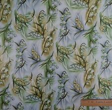 Cotton Quilt Sewing Fabric Green and Yellow Bell Water Flowers - BTY