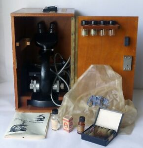 Steindorff Berlin Binocular Microscope with Case and Manual Made in West Germany