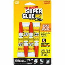 Super Glue Instantly Bonds METAL ALUMINUM RUBBER - Most Plastics SGH24J- 4 Tubes