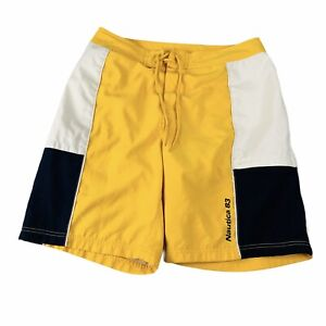 Vintage 90s Nautica 83 Yellow Spell Out Swim Trunk Shorts Men's 32W