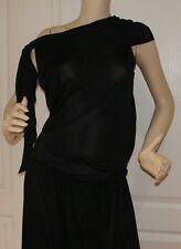 NINA RICCI Black Dress Sleeveless Asymmetrical hem Size 8 France Preowned