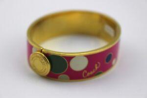$138 COACH Pink Polka Dot Enamel Gold Tone Hinged Bangle Bracelet Signed NEW