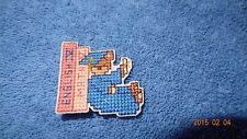 New Finished Cross Stitch Pin of a Graduation Teddy Bear with blue cap and gown