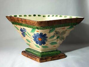 Rare Myott, Son & Co. Art Deco DIAMOND Vase. Hand Painted 1930s Ceramic 1144F.O.