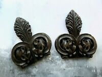 Pair. of Antique Wooden Carved Floral Leaf Ornament Decorations