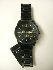 (M) ARMANI EXCHANGE BANKS BLACK ION PLATED CHRONOGRAPH WATCH AX2094 NEW WITH TAG