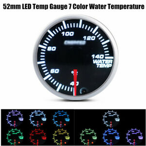 52mm LED display 7 Color Water Gauge Coolant Temperature Temp Gauge Meter
