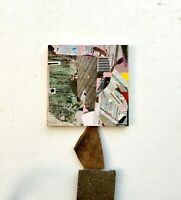 """""""Waking Up is All I Ever Do"""" Small Abstract Collage Painting Original Art"""