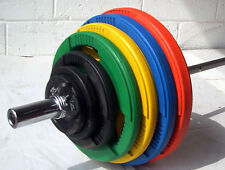150KG Coloured Rubber Coated Tri-Grip Olympic Weight Set, 6ft Barbell Bar