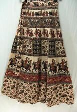 Tienda Ho~ECRU~Long wrap skirt~HANDWOVEN COTTON~floral/folk print~INDIAN~plus~OS