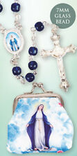 VIRGIN MARY OUR LADY GLASS ROSARY BEADS WITH CLOTH PURSE CANDLES STATUES LISTED