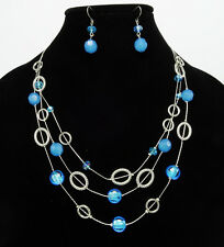 New Silver Multi Strand Necklace Set with Blue Beads & Matching Earrings #N2612