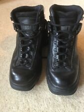"Stylish Black Leather Square Toe ""Caterpillar""  CAT  Boots, Size 6 - Wide"