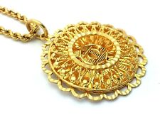 """22k Yellow Gold Round Filigree Anchor Pendant with Rope Chain Necklace 16.5"""""""