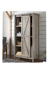"66"" Modern Farmhouse Open Storage Bookcase Cabinet, Rustic Gray Light Barn Wood"