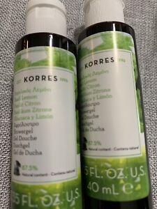 Set Of 2 Korres Basil Lemon Shower Gels Travel Size 1.35oz Ea New Ships Free
