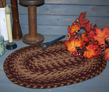 Vntg Style Oval Braided Homespun PlaceMat~~Red & Tan~Colonial~Primitive~Decor