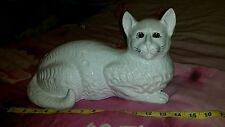 "BEAUTIFUL Vtg Ceramic big 14"" white  cat pereira gc Portugal #1652 lifesize cat"