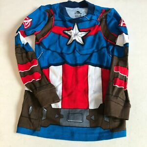 Disney Boys Marvel Avengers Captain America Multicolor Costume Pajama Sz 6
