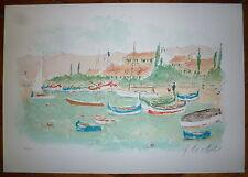 Huchet Urbain Lithographie signée numérotée Bretgne mer bateau port art marin