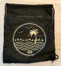 "New Travis Mathew drawstring backpack black bag pocket travismathew TM 14""x18"""